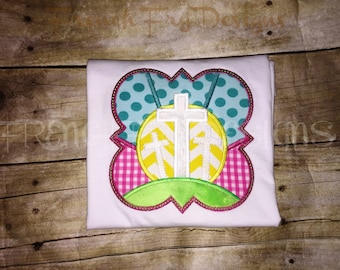 Customized Easter Religious Cross Patchwork Frame Appliqued T-Shirt
