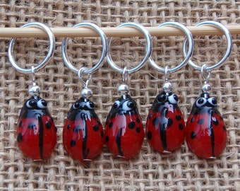 Ladybird stitch markers, set of five