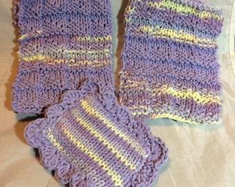 Knitted Dishcloth Set / Set of 3 / Knit DishCloth / Knit Wash Cloth / Knit Scrubbie