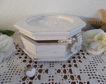 Light Pink Shabby Chic Jewelry Box Up Cycled Vintage French Country Farmhouse Beach Cottage Home Decor Birthday Gift Her Storage Organizer