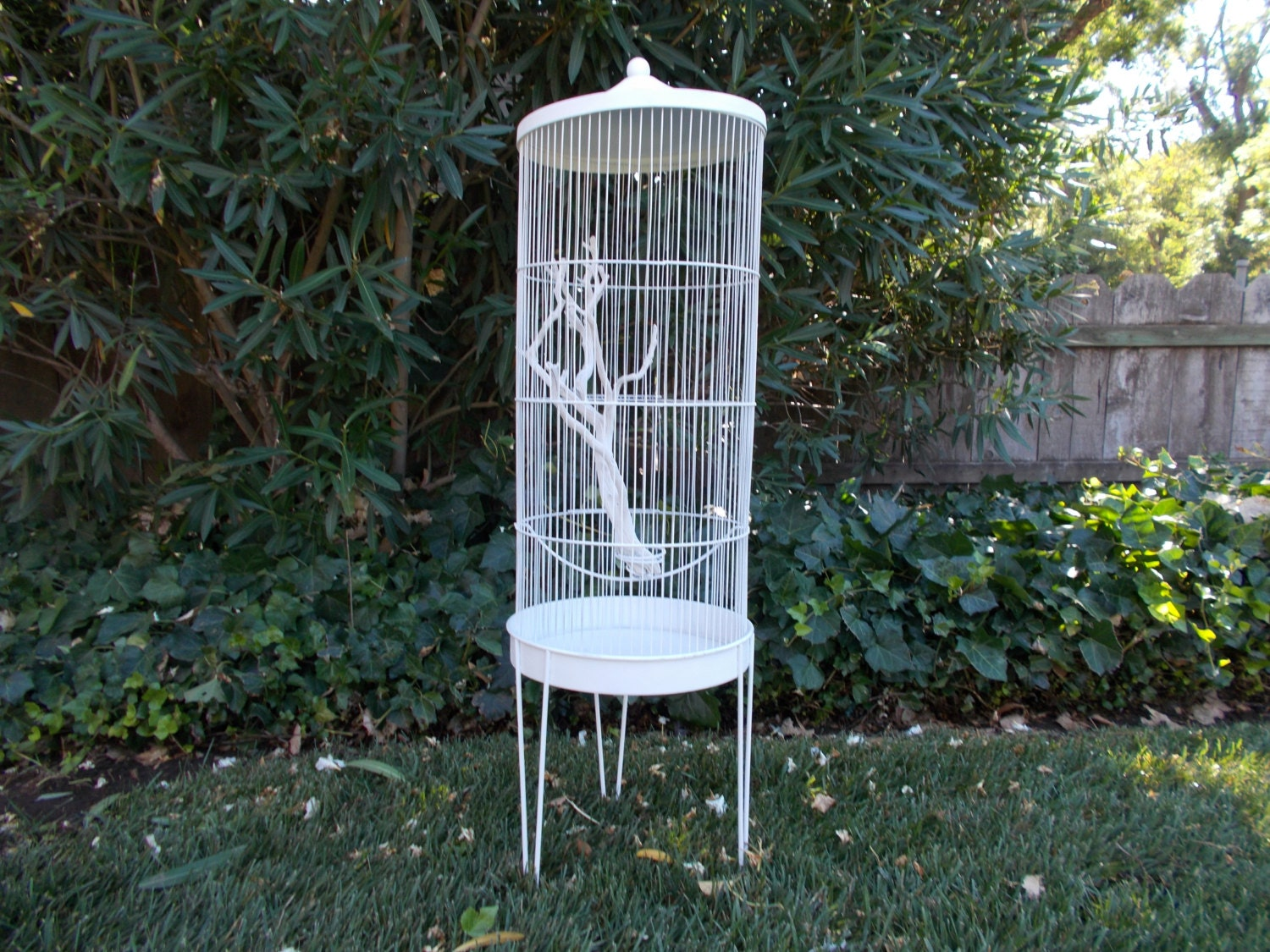 Large White Shabby Chic Bird Cage Up Cycled Vintage Metal Self