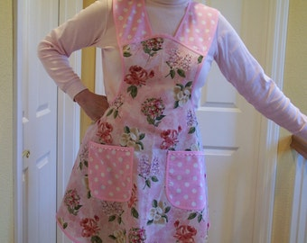 Womens Pink Flowered Apron, No Pull Neck Apron,  Retro Style Hostess Apron