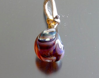 Handmade  borosilicate glass pendant with sterling silver bail