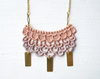 Rose Gold and Lavender Ombre Lace and Gold Necklace // Lace Jewelry