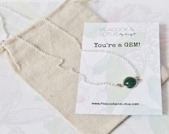 You're a Gem - Malachite Delicate Modern Gemstone Necklace