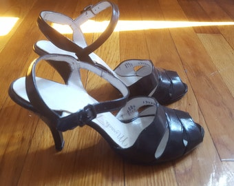 Vintage 1950's Black Leather Open Toe Strappy Pumps by Miracle Tread, Size 7
