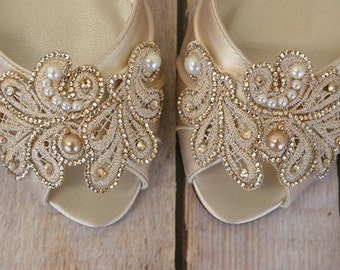 Wedding Shoes, Ivory Wedding Shoes, Champagne Wedding Shoes, Ivory Bridal Shoes, Lace Wedding Accessories, Kitten Heel, Peep Toe