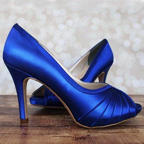 Custom Wedding Shoes Royal Blue Peep Toe Wedding Shoes With