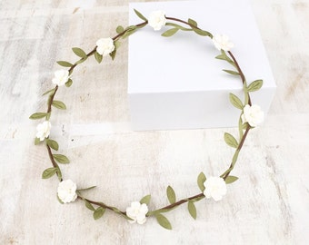 Off white flower chase garland head dress headband with leaf detail - flower girl - wedding - boho