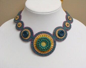 Handmade Fiber Art Necklace Wool Felt OOAK- Beaded-Embroidered Handmade
