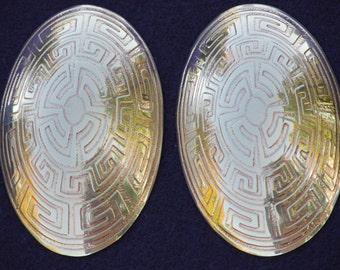 Norse Jewelry - Oval Viking Tortoise Brooch (Turtle Brooch) Set Handmade with Greek Key Design in Brass Copper or Nickel - MTO
