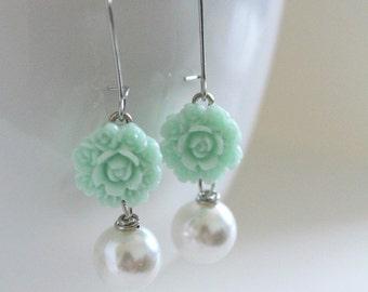 Aqua Flower Earrings, Mint Earrings, Bridesmaid Jewelry, Something Blue, Spring Earrings, Flower Jewelry, Limpet Shell, Girlfriend Gift