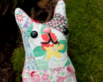 Beatrix - Plush Whimsy Kitten, recycled vintage quilt fabric, pillow