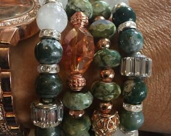 Quartz, Jade and Rhyolite Gemstone Stacking Bracelets, set of Stretch Bracelets