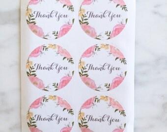 Garden Flower Thank you label sticker - 24 pieces - 3.8cm round enveolpe seal - wedding invitation