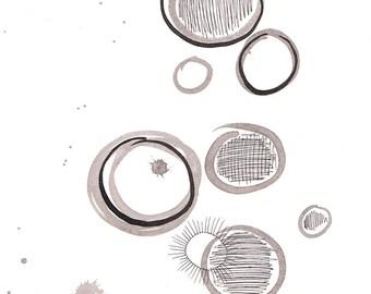 Modern abstract wall art. Black and white illustration. Circles drawing. Mixed media watercolor painting.