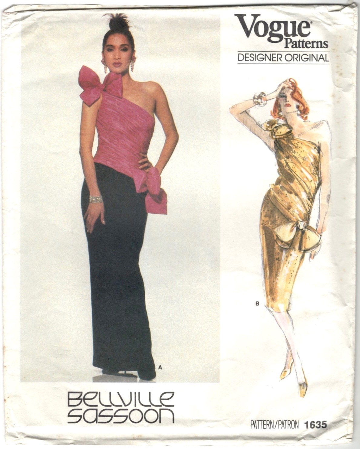 1980s Bellville Sassoon formal dress pattern - Vogue 1635