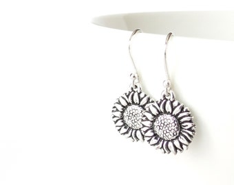 Cheerful sunflower earrings, gift for gardener, drop earrings with sunflower charms, sterling silver ear wires with TierraCast charms