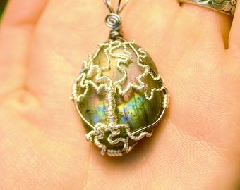 Labradorite and Silver Tree of Life Pendant - Wire Wrapped - One of a Kind - Rainbow Labradorite