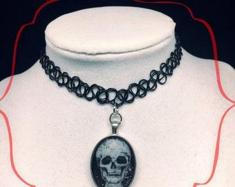 Handmade Tattoo Choker Goth Skull Necklace