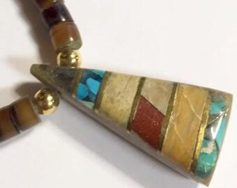 Vintage Santo Domingo Heishi Beaded Necklace with Multi Stone Inlay Triangular Pendant