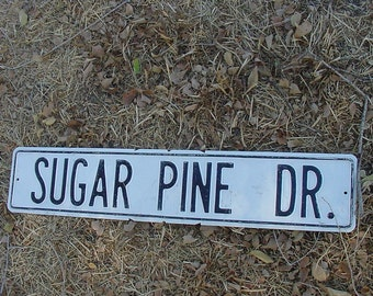 """Vintage White Washed TIN Road Sign Chippy Shabby Black Paint Letters 30"""" x 6""""  Sugar Pine Dr Street Sign"""
