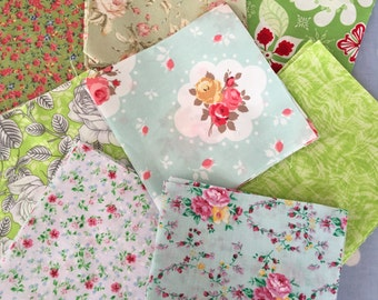 """40 x 5"""" green cotton fabric patchwork squares ,sewing,patchwork,quilt,quilt making,crafts,childrens crafts"""