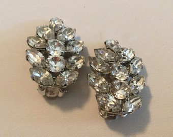 Rhinestone Vintage Earrings Clip on Style