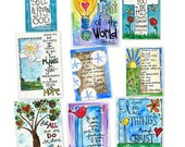 Bible Verse Variety Pack  Memory Cards Gift Tags Wallet Size Illustrated Watercolor Prints