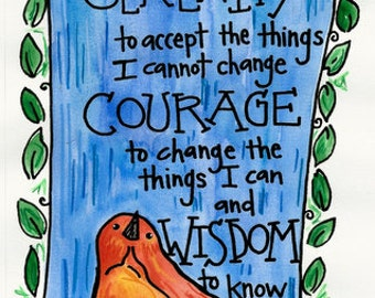 Serenity Prayer Christian Illustrated Watercolor print
