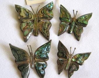 Beautiful MEXICO Sterling Silver Black Lip Mother of Pearl BUTTERFLY BROOCH Set of 4