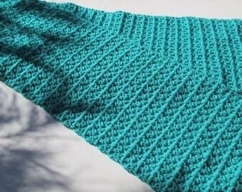 "Crocheted Scarf - Jadite Green - Soft & Warm - 9"" X 56"" - Neck warmer"