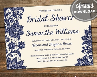 Wedding Shower Invitation, Bridal Shower Invitation, Lace, Navy, Blue, Cream Background, Printable File #IDS1003