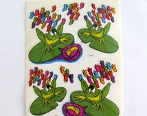 ON SALE Rare JUMBO Vintage Bj Transparent Frog on Lilypad Sticker Sheet - 6 Inch - 80's Rainbow Butterfly Toad Lily Decal Specialties