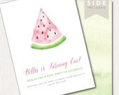 Watermelon Invitation -Watercolor Printable for Birthday, Baby Shower or Bridal Shower Party