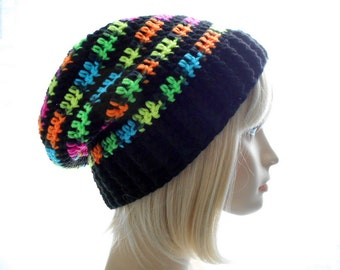 Black Slouchy Hat with Neon Stripes, Crochet Vegan Hat, Women's Hat, Large to Extra Large Size