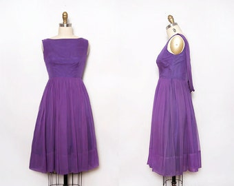 Vintage 50s Party Dress. Chiffon Dress. Fit and Flare Dress. Violet Dress. 1950s Cocktail Dress. Boat Neck Dress. Knee Length. Size Small.