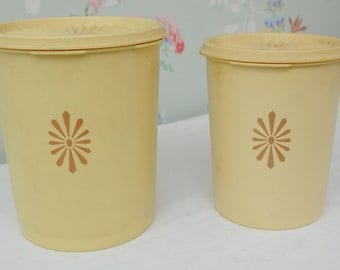 Pair of Yellow Tupperware Storage Canisters