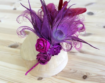 Pink Feather Rose and Lily Headband Fascinator.