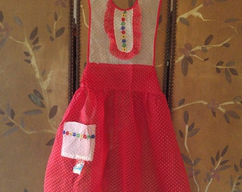 60s red and white polka dot and flower trim apron