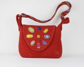 Red Multicolor Felt Purse - Handmade felted over shoulder purse /pouch - Beautiful handmade purse - statement  bag - Gift for her