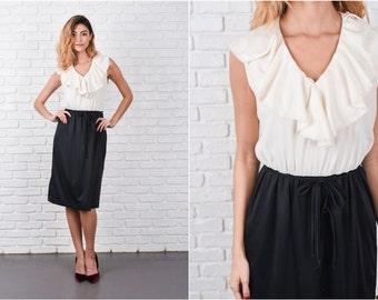 Cream + Black Color Block Dress Vintage 70s Lace Medium M 8344