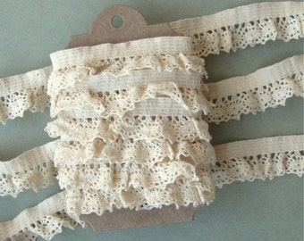 """Natural Cotton Cluny Lace Elastic Trim 7/8"""" width 3 Yards on Card"""