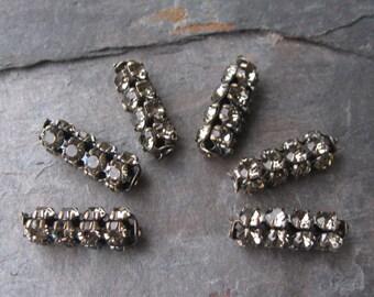 Black Diamond 4 Row Rhinestone Tube Beads Czech Preciosa Crystal in Brass Ox 19mm (6)