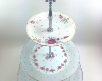 Hand Painted Turquoise Polka Dot 3 Tier Stand