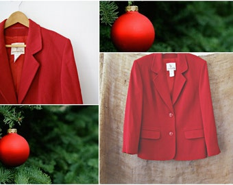 French Red Wool Coat, Vintage Weill Jacket, Retro Woman Fashion Circa 80s, Tailored Jacket 44 L, Winter couture Fashion, Christmas gift