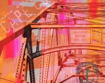 Now Entering The Cod. Cape Cod Sagamore Bridge Industrial Decor Product Options and Pricing via Dropdown Menu