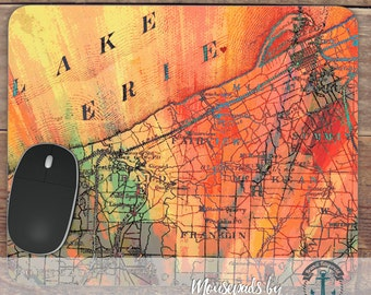 Mousepad: Lake Erie   Great Lakes Map Hometown Decor   Handmade in USA Office Accessory