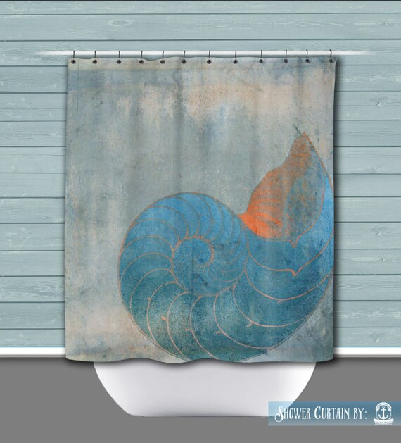 Nautilus Shower Curtain: Seashell Shore Beach House Nautical | Made in ...