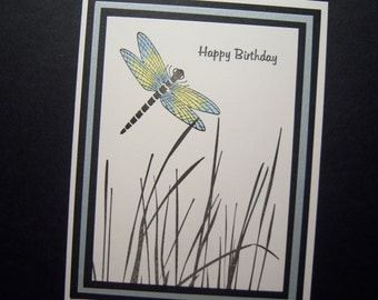 Dragonfly Among the Reeds Birthday Card